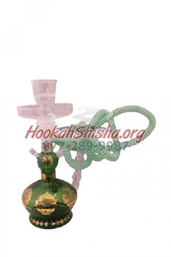 "Small Glass Hookah XY3 13"" Hookah Green w/ Suitcase"
