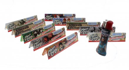 Cheech and Chong Unbleached King Size Rolling Papers 10 Pack with Lighter