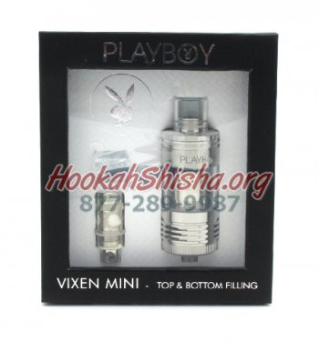 PLAYBOY VIXEN MINI SERIES TANK - 0.1 OHM TOP & BOTTOM FILLING (SILVER)