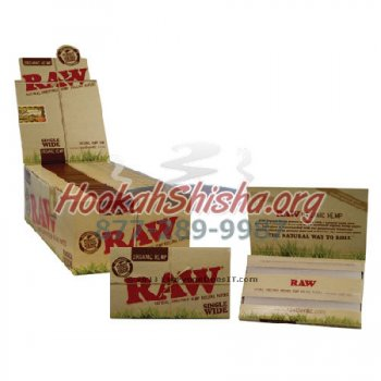 RAW SINGLE WIDE ORGANIC HEMP CIGARETTE ROLLING PAPERS, 100 LEAVES