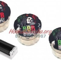 Travel size tobacco grinder 3 pack plus cigarette roller (Bob Marley)