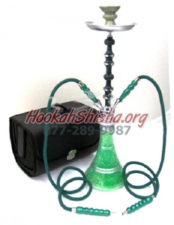 "Frozen Hookah - 28"" - Double Hose Green"
