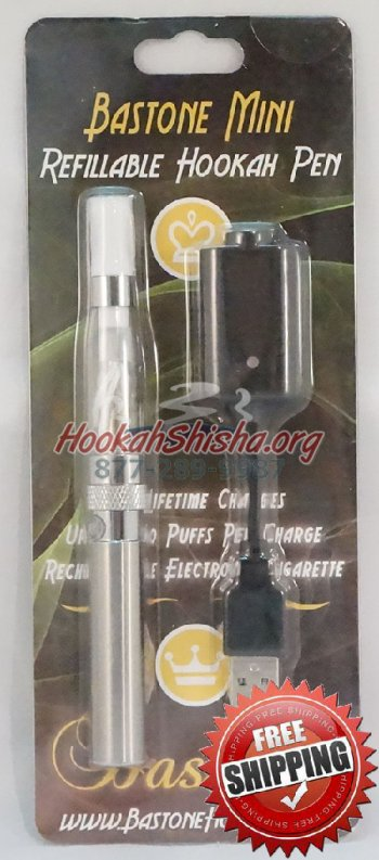 Refillable Hookah Vapor Pen With Charger Chrome: Shisha Stick