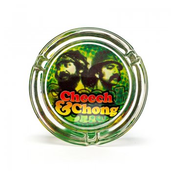 Cheech and Chong Glass Ashtray Reflection