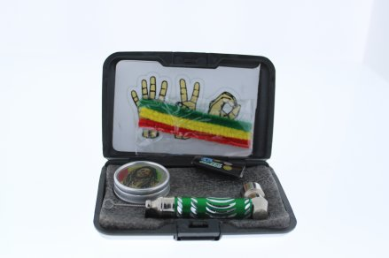 6 in 1 Tobacco Pipe Mini Kit with Hard Cover Carrying Travel Case - Silver