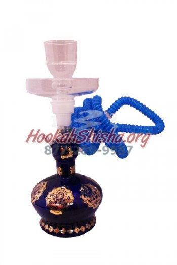 Small Glass Hookah XY3 13″ Hookah Blue w/ Suitcase