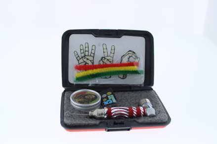 6 in 1 Tobacco Pipe Mini Kit with Hard Cover Carrying Travel Case - Red