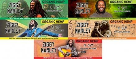 Ziggy Marley Organic Hemp Unbleached Rolling Papers 1 1/4 Size 10 pack with Lighter