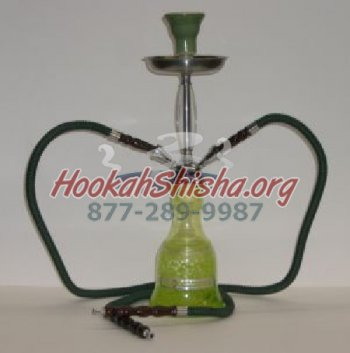 "Mini Frozen Double Hose Hookah - 18"" - Green"