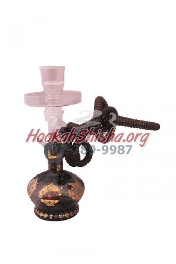 Small Glass Hookah XY3 13 inch; Hookah Black w/ Suitcase
