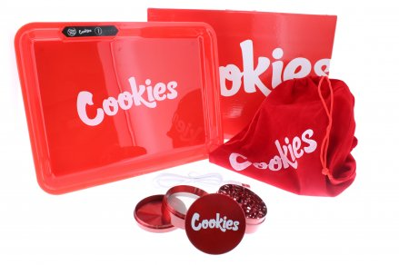 Glow Tray x Cookies LED 7 Color 11 x 8 Rolling Tray & 4 Level Grinder Gift Kit - Red
