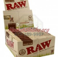RAW KING SIZE SLIM ORGANIC HEMP CIGARETTE ROLLING PAPERS, 32 LEAVES