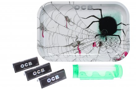 "OCB 7.5"" x 11.5"" Sider Rolling Tray, 150 Papers & 4 in 1 Roller"