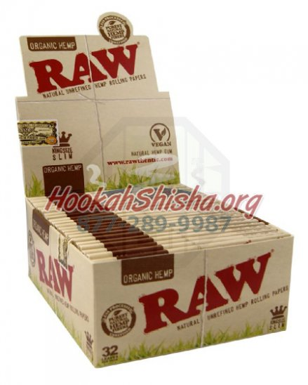 Raw King Size Slim 32 Leaves Organic Hemp (5 Pack : 160 Leaves Total)