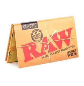 RAW SINGLE WIDE CLASSIC CIGARETTE ROLLING PAPERS, 100 LEAVES