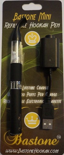 Bastone Luce Light Up Rechargeable Hookah Vapor Pen With Charger: Black