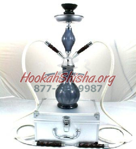 Double Hose Crystal Case Frosted Black Hookah